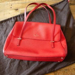 kate spade Red Leather Shoulder Bag with Flap